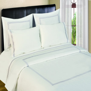 300 Thread Count Duvet Sets  3 line Merrow Embroidery - Platinum