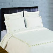 300 Thread Count Scroll Embroidery Percale Duvet Set - Sage