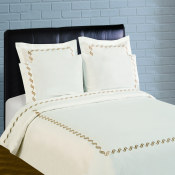 300 Thread Count Scroll Embroidery Percale Sheet Set - Taupe