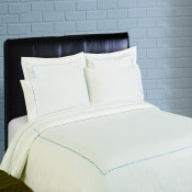 300 Thread Count Scallop Embroidery Percale Duvet Set - blue