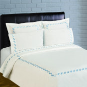 300 Thread Count Scroll Embroidery Percale Duvet Set - Blue
