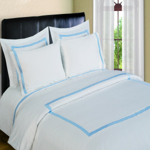 300 Thread Count Duvet Sets  3 line Merrow Embroidery - Blue