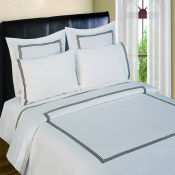 300 Thread Count Duvet Sets  3 line Merrow Embroidery - Black