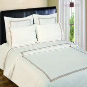 300 Thread Count Duvet Sets  3 line Merrow Embroidery - White