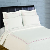 300 Thread Count Scroll Embroidery Percale Duvet Set - Rose