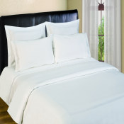 300 Thread Count Sheet Sets  3 line Merrow Embroidery - White